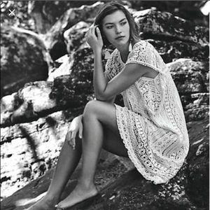 Maeve (Anthropologie) crochet tunic dress in white